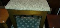 Vintage Wood Base Upholstered Stool