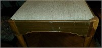 Vintage Wooden Base Upholstered Stool