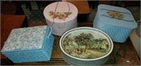 Vintage Lot of 4 Sewing Baskets & Metal Tin