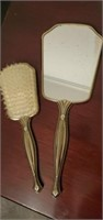 Vintage 2 pc Vanity Brush & Mirror Set