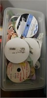 Estate lot of 34 small tubs of sewing supplies
