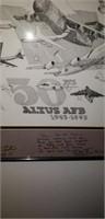 Lot of a 50 yrs Altus AFB print, and a clock