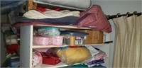 Estate lot of sewing supplies and a shelf