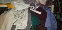 Huge Estate lot of fabric and a metal shelf