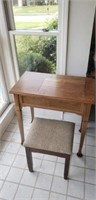 Antique Sewing machine cabinet and stool