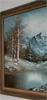 Stunning Oil on Canvas Mountain Scene Painting