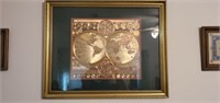 Framed Gold Globe Map