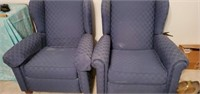 Pair of Navy Blue Upholstered Chairs