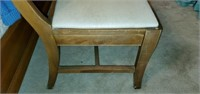 Vintage Wood Framed Chair with Hidden Drawer