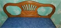 Vintage Wood Framed Blue Cushion Vanity Chair