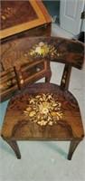 STUNNING Wooden Floral Secretary & Chair