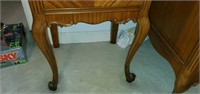 Beautiful Carved Wood Two Drawer Side Table