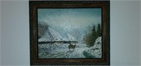 Beautiful Framed Creslor Oil on Canvas Painting