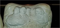 Pair of White Chalkware Mt. Rushmore Book Ends