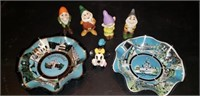 Walt Disney Productions figurines and bowls