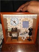 Estate lot of dolls shadow box clock