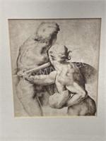 Framed & Matted Sketch Replica by Leonardo Da