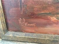 Vintage Signed Shoe Cobbler Maker Shop Painting