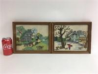 Vintage Framed Stitch Folk Art