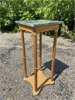 Wooden Base Stone Top Plant Stand