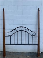 Wood and Metal Queen Head and Footboard