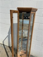 Vintage Lighted Curio Cabinet with Glass Shelves