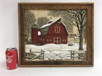 Vintage Rustic Barn Art Print on Burlap