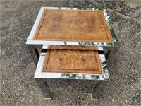 Vintage Wood and Metal Nesting End Tables