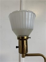 Vintage Brass & Glass Adjustable Lamp