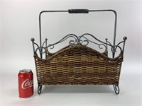 Wicker & Metal Magazine Rack/Holder