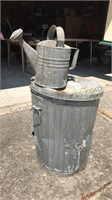Vintage Galvanized Watering Can and Refuse Can