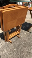 """Set of 4 Wood TV Trays with Rack 15x22x27"""""""