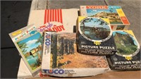 5 Vintage Jigsaw Puzzles and Puzzle Caddy