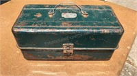 "Vintage Metal Tool Box with Contents 14"" Wide"