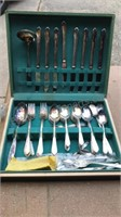 Vintage WA Rogers Flatware Set in Wooden Storage