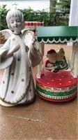 2 Vintage Christmas Musical Figures