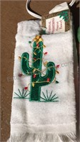 Ceramic Christmas Cactus and Cactus Towel with