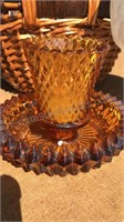 "Milk Glass Pedestal Bowl 6"" Tall Amber Glass Tea"