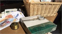 Wicker Basket Filled with Vintage Note Cards,