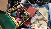 Vintage Tin with Sewing and Knitting Items
