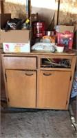 Vintage Wooden Base Cabinet filled with Vintage