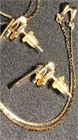 Zipper Design Necklace and Pierced Earring Set