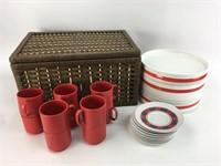 Vintage Picnic Set with Basket