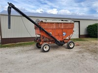 Seed Wagon w/Wooden Extensions, Tarp, Auger Mate