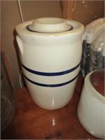 Large glass jars, crock jugs, covered crock, brown