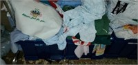 4 Tote Fulls of Misc Fabric Pieces & Clothes Rack