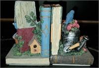 Beautiful Pair of Bird Floral Book Ends