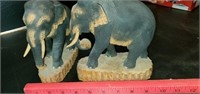 Pair of Carved Wood Elephant Bookends