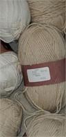 Lot of beige knitting yarn