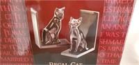Brand New Black Regal Cat Bookends in Box